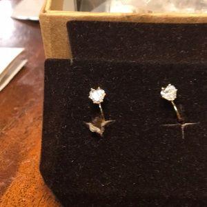 Rare clip on studs CZ stone heart shaped new